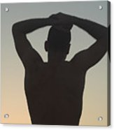 Silhouette Of A Man At Sunset Acrylic Print