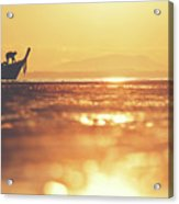 Silhouette Of A Thai Fisherman Wooden Boat Longtail During Beautiful Sunrise Acrylic Print