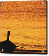 Silhouette Of A Thai Wooden Boat  On The Beach Against Golden Sunset Koh Lanta, Thailand Acrylic Print