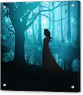 Silhouette Of A Womanin In A Forest At Twilight Acrylic Print