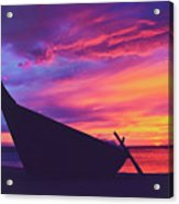 Silhouette Of A Wooden Thai Boat  On The Beach During Beautiful And Dramatic Sunset Acrylic Print
