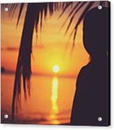 Silhouette Of A Young Boy Watching Beautiful Caribbean Sunset Acrylic Print
