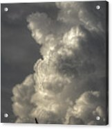Silhouette Of An Eagle Flying Among Stormy Clouds  Acrylic Print