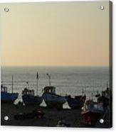 Silhouette Of Boats On Beach  Acrylic Print
