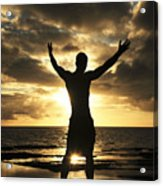 Silhouette Of Fit Man Acrylic Print