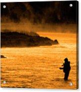 Silhouette Of Man Flyfishing Fishing In River Golden Sunlight Acrylic Print