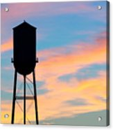Silhouette Of Small Town Water Tower Acrylic Print