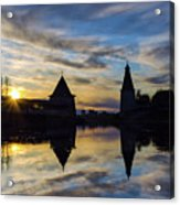 Silhouette Of Stronghold And Sunset. Pskov Kremlin. Russia Acrylic Print