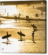 Silhouette Of Surfers At Sunset Acrylic Print