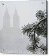 Silhouette Of The Eldorado Building Through Snow With Central Pa Acrylic Print