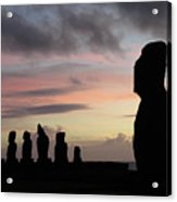 Silhouette Of The Moai Acrylic Print