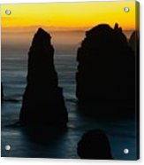Silhouette Of The Twelve Apostles At Sunset Acrylic Print
