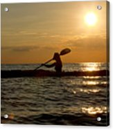 Silhouette Of Woman Kayaking In The Ocean. Acrylic Print