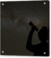 Silhouette Of Woman Looking At Stars Acrylic Print