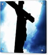 Silhouetted Crucifix Against A Cloudy Sky Acrylic Print