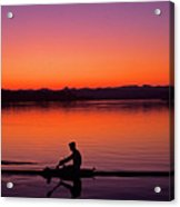 Silhouetted Man Rowing Acrylic Print