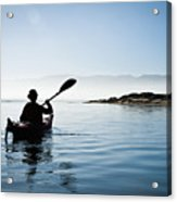 Silhouetted Morro Bay Kayaker Acrylic Print by Bill Brennan - Printscapes