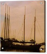 Silhouetted Sailboats Acrylic Print