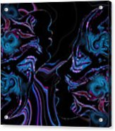 Silhouettes In Black Light. Acrylic Print