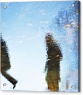 Silhouettes In Blue Sky Acrylic Print