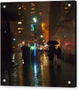 Silhouettes In The Rain - Umbrellas On 42nd Acrylic Print