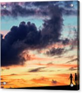 Silhouettes Of Three Girls Walking In The Sunset Acrylic Print