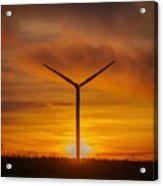 Silhouettes Of Wind Turbines With A Beautiful Sunset Acrylic Print