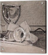 Silver And Glass Still Life Acrylic Print by Rebecca Tacosa Gray