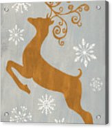 Silver Gold Reindeer Acrylic Print