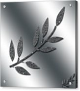 Silver Leaves Abstract Acrylic Print