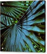 Silver Palm Leaf Acrylic Print