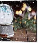Silver Snow Globe With White Christmas Trees Acrylic Print