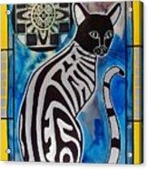 Silver Tabby With Mandala - Cat Art By Dora Hathazi Mendes Acrylic Print