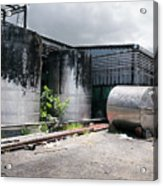 Silver Tanks In Factory Acrylic Print