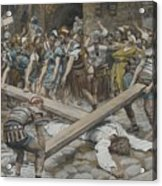 Simon The Cyrenian Compelled To Carry The Cross With Jesus Acrylic Print