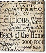 Simple Speak Kitchen Acrylic Print by Grace Pullen