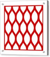 Simplified Latticework With Border In Red Acrylic Print