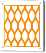 Simplified Latticework With Border In Tangerine Acrylic Print