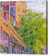 Simrishamn Street Scene Digital Painting Acrylic Print