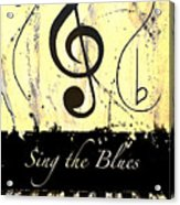 Sing The Blues Yellow Acrylic Print