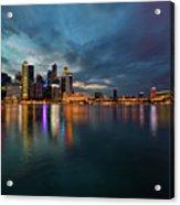 Singapore City Skyline At Evening Twilight Acrylic Print