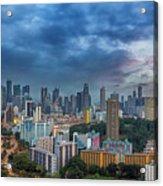 Singapore Cityscape At Sunset Acrylic Print