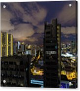 Singapore Cityscape On A Cloudy Night Acrylic Print