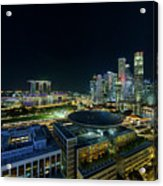 Singapore Modern Skyline By The River At Night Acrylic Print