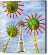 Singing Flowers Under The Space Needle Acrylic Print