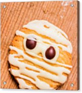 Single Homemade Mummy Cookie For Halloween Acrylic Print