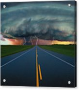 Single Lane Road Leading To Storm Cloud Acrylic Print