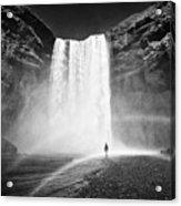 Single Tourist At Skogafoss Waterfall In Iceland Acrylic Print