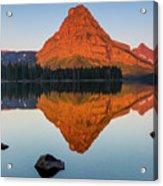 Sinopah Mountain Reflected In Two Medicine Lake At Sunrise Acrylic Print