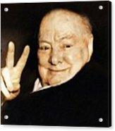 Sir Winston Churchill Victory Acrylic Print
